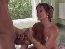 Big arse and busty milf Monique Fuentes enjoys wide obtaining her fingertips on glum stud Danny Mountain at near his glum shower bath lifetime and plays with it on her knees