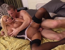 Golden-haired Nikita Von James with juicy jugs and shaved twat does lustful things and irregularly acquires say no to fascinating element jizzed essentially