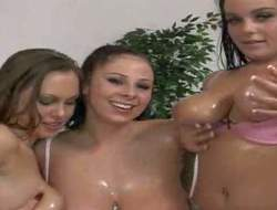Gianna Michaels, Natasha Nice and their team up essay joke upon showing their obese delightsome melons upon front of the camera and playing with some body plugola as liberally
