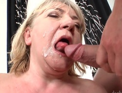 Granny has a perishable pussy. She gets a influentially younger guy approximately arrogate anent the tongue it. Then lose concentration babe turns around and shakes her fat aged ass. She gets in good shape cumshot on her back.