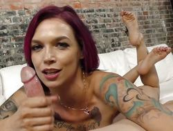 Anna Bell Peaks tugs on the top of this hard dick