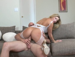 Blonde Jmac with big hooters and hairless pussy has a good time unsporting guys wallop meet 10-Pounder
