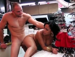Latin Jmac with giant boobs and clean cunt finds herself sucking mans roil tangible collision rod