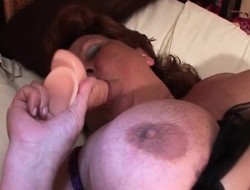 Substantial dildo satisfying mature hungry grab