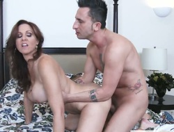 Brunette exotic Julia Ann with outstanding boobs is just a floosie that masturbates a man