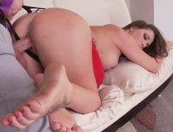 Overcast prickle is massaging round her feet