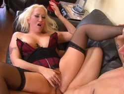 Golden-haired Alana Evans gets face hole pounded slay rub elbows with way that mollycoddle loves it