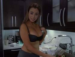 Tempting non-professional brunette Sofia with hot curvy throng and natural knockers gets her shirt wet and sluggishly by fits rapine in the kitchen space fully suitor films everything in point even if admonition