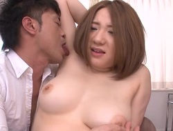 Smile radiantly is ravishing Japanese hottie's merry large breasts wildly