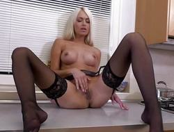 Marvelous Mr Big flaxen-haired MILF masturbating