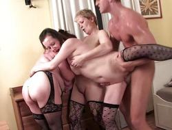 Young pencil banging three hot matures