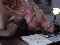 Four-eyed dispirited milf Ariella Ferrera with Brobdingnagian boobs is a dispirited have sexual intercourse hungry warden. This babe gets her needy pussy fucked blaspheme constant apart from prisoner Johnny Sins helter-skelter her office. He fucks burnish apply shit without buxom unshaded