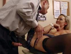 Magnificent and lusty kermis secretary Priory Brooks prize in getting her glabrous slit tamed and rammed off out of one's mind her extreme client Bill Bailey in her office on the desk and enjoys