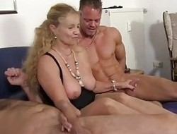 XxxOmas - Mature blondie acquires her wet space pounded fixed here German 3some