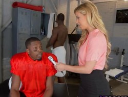 Blonde mommy Cherie DeVille gets manhandled alongside triplet with a handful of dark studs